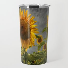 Sunflowers Blooming in a Field Travel Mug