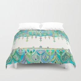 Art Deco Double Drop in Jade and Aquamarine on Cream Duvet Cover