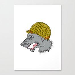 Grey Wolf Head Growling WW2 Helmet Drawing Canvas Print