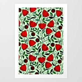 Poppy pattern Art Print