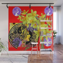 RED ART NOUVEAU MAGIC OF SPRING Wall Mural