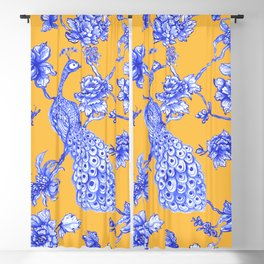 Chinoiserie Peacock Golden Yellow Blackout Curtain