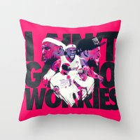 lebron Throw Pillows featuring LEBRON 2 TIME CHAMPION by mergedvisible