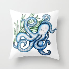 Octopus Under the Sea Throw Pillow