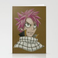 fairy tail Stationery Cards featuring Natsu - Fairy Tail by Kelly Katastrophe