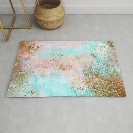 Pink and Gold Mermaid Sea Foam Glitter Rug