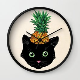 Pineapple Kitty Wall Clock