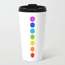 Chakra symbols with respective colors- Spiritual gifts Travel Mug