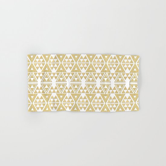 White and Gold Geometric Pattern 2 Hand & Bath Towel