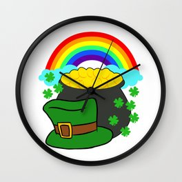 Pot Of Gold Hat And Rainbow Clover St Patricks Day Wall Clock