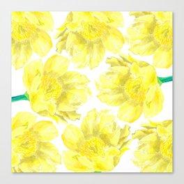 Yellow Peony Flower Pattern Canvas Print