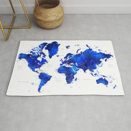 """Navy blue and cobalt blue watercolor world map with cities labelled, """"Carlynn"""" Rug"""