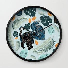 Tigers in the jungle Wall Clock