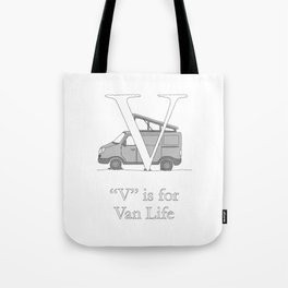 """V"" is for Van Life Tote Bag"