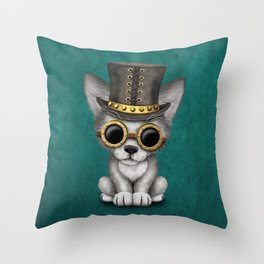 Steampunk Baby Wolf Cub on Blue Throw Pillow