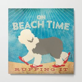 Beach Time Sheepdog by Stephen Fowler Metal Print