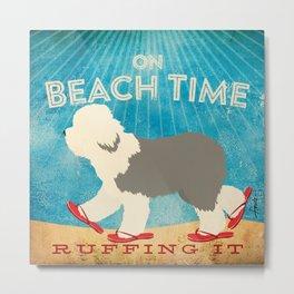 Beach Time Sheepdog by Stephen Fowler Metal Print