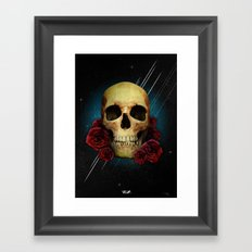 Skull and Roses Framed Art Print