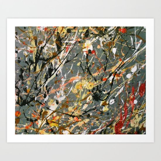 Jackson Pollock Interpretation Acrylics On Canvas Splash Drip Action Painting Art Print