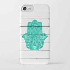 Hip Turquoise Hamsa Hand Henna Pattern Wood Stripe iPhone 7 Slim Case