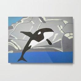 Leaping Orca Metal Print