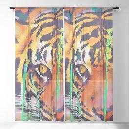 Watercolor Tiger Sheer Curtain