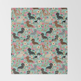 Dachshund floral dog breed pet patterns doxie dachsie gifts must haves Throw Blanket
