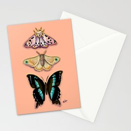 Butterflies Trio Magical Dots on Peach_modern digital painting Stationery Cards