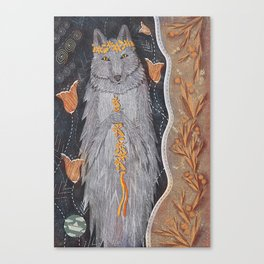 Wolf and flower crown Canvas Print