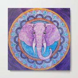 Patience - Elephant mandala Metal Print