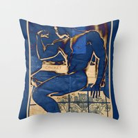 muscle Throw Pillows featuring Muscle. by Azure Cricket