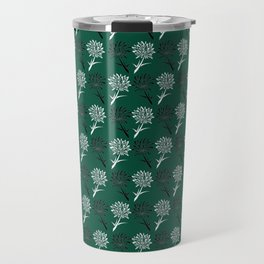 Green and White Dandelion Pattern Travel Mug