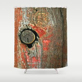 Weathered Wood Texture with Keyhole Shower Curtain