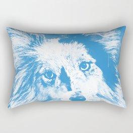 border collie dog 5 portrait wswb Rectangular Pillow