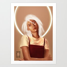White Neon Art Print