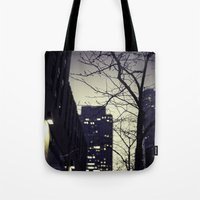 30 rock Tote Bags featuring Morning  at 30 Rock by Benjamin Hunter