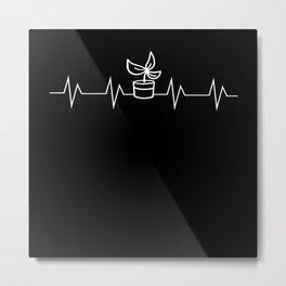 Heart Line Cactus Pulse Heartbeat Motif Metal Print