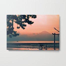 Indonesian Sunset Over Mount Rinjani Metal Print