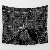 minnesota Wall Tapestries featuring saint paul map minnesota by Line Line Lines