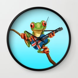 Tree Frog Playing Acoustic Guitar with Flag of Iceland Wall Clock