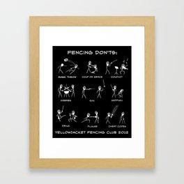 Yellow Jacket Fencing Club 2012 T-shirt contest winner (stick figures) Framed Art Print