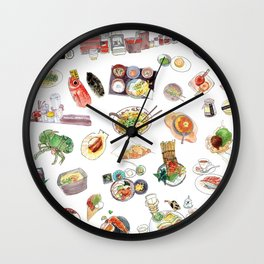 Watercolor Hand Draw Japanese Foods Collection Wall Clock