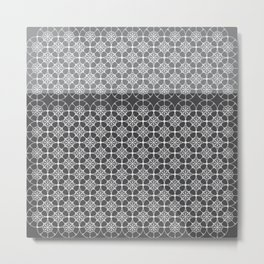 Portuguese Tiles of the Algarve in Grey with Glitch Metal Print