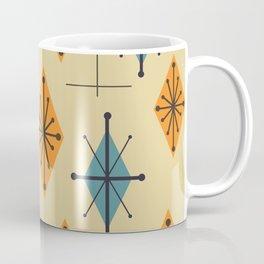 Mid Century Modern Starburst Diamonds Orange And Blue Coffee Mug