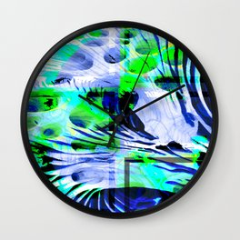 Collage with circles and curved lines Wall Clock