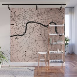 London Rosegold on Black Street Map Wall Mural