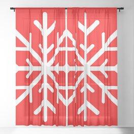 Snowflake (White & Red) Sheer Curtain