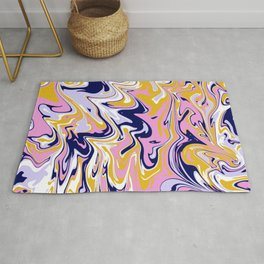 pink, navy & gold marble Rug