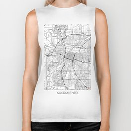 Sacramento Map White Biker Tank