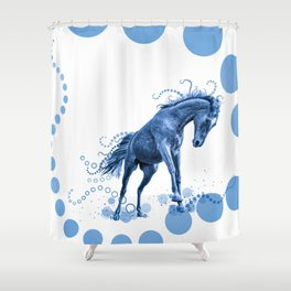 Playful Horse with Circles (blue) Shower Curtain